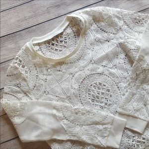 Piperlime White Lace Crochet Pullover Sweater M